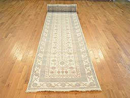 3 x 31 RUNNER HAND KNOTTED WASHED OUT IVORY KHOTAN OUSHAK ORIENTAL RUG G17821
