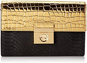 MILLY Sienna Gold Clutch,Black,One Size