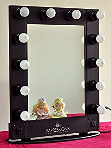 hollywood vanity mirror by impressions vanity black. Black Bedroom Furniture Sets. Home Design Ideas