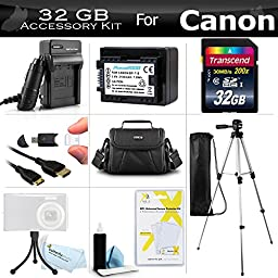 32GB Accessory Kit For Canon VIXIA HF R62, HF R60, HF R600, HF R700, HF R72, HF R70 Digital Camcorder Includes 32GB High Speed SD Memory Card + Replacement BP-718 Battery + Charger + Case + Tripod + More