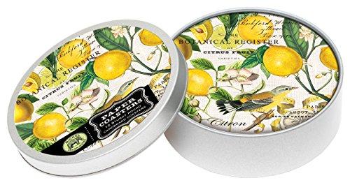 Michel Design Works 4-Inch Pulpboard Paper Coasters, Lemon Basil, Tin of 12
