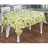 "Rectangular Table Cloth Printed 6-Seater -100% Cotton Lemon Print Table Cover Rectangle Long Yellow Green -55""..."