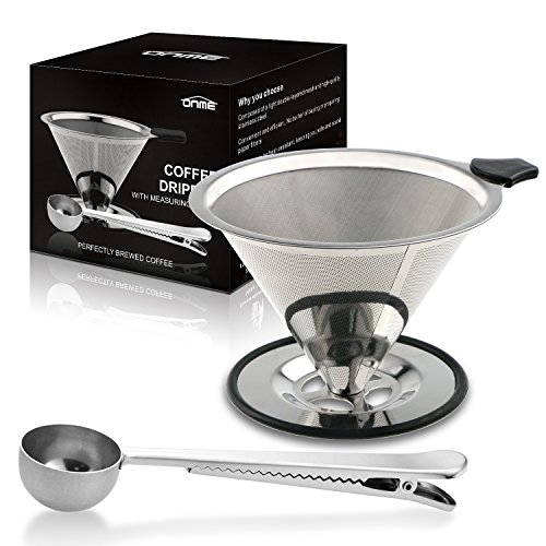 ONME Stainless Steel Pour Over Coffee Filter Dripper, Reusable Coffee Filter, Camping Coffee Maker with Cup Stand, Bonus Coffee Scoop with Silicon Handle - 4 Cups (Coffee Dripper Single Cup compare prices)