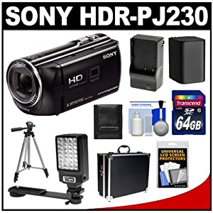 Sony Handycam HDR-PJ230 8GB 1080p HD Video Camera Camcorder with Projector (Black) with 64GB Card + Battery & Charger + Hard Case + LED Video Light + Tripod + Accessory Kit