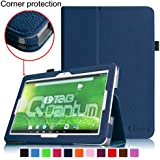 [Corner Protection] Fintie Matricom G-Tab 10.1 Folio Case - Premium PU Leather Cover with Stylus Holder for Matricom G-Tab Quantum / Matricom G-Tab Iota 10.1-Inch Android Tablet - Navy