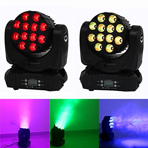 Yiscor Stage Lighting Led Par Light Spot Beam 120W 12Leds Rgbw (4In1) Dmx512 Moving Head For Home Garden Xmas Christmas Birthday Party Dj Disco Club Effect (Pack Of 2)
