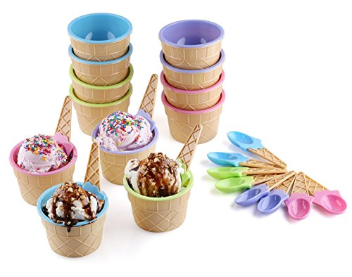 Greenco Vibrant Colors Ice Cream Dessert Bowls and Spoons (Set of 12) (Ice Cream Cone Plastic compare prices)