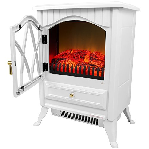 Lowest Prices! AKDY 16″ Retro-Style Floor Freestanding Vintage Electric Stove Heater Fireplace AK-ND-18D2P (Pure White)