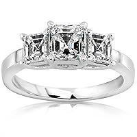 1.22 Carat 3 Stone Asscher Cut Diamond Engagement Ring (E Color VS2 Clarity) from Houston Diamond District