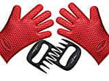 Premium Silicone Cooking Gloves + Meat Shredder BBQ Claw ★ Bonus Pack, FREE BBQ Recipe E-Book ★ Outstanding Value by Magnifique USA ★ Five Finger Heat Resistant Gloves Perfect for Grilling,Cooking,Baking & Handling Hot Stuff ★ Bear Claws Make It Easy to Shred, Pull & Securely Pick up Hot Meat ★ Backed By Amazon's A-Z Guarantee - Red color