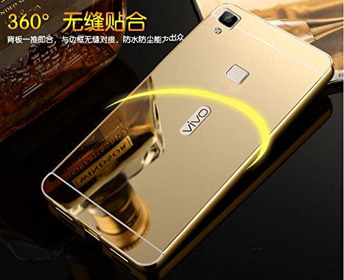 FING (TM) Luxury Metal Bumper + PC Mirror Back Cover Case Vivo V3 (Not for V3 Max) - Gold