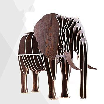 Scaffali di legno creativi di DZW Scaffali di elefante di legno Modellazione di animali Scaffali di legno creativi 70 * 27 * 113cm , black lake peach, Legno da costruire