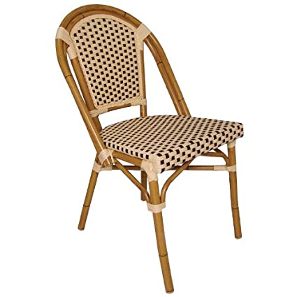 Continental Bistro Wicker Sidechair - Cream and brown pattern. 890(h) x 440(w) x 560(d)mm. Pack of 4.