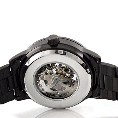 Alienwork IK mechanische Automatik Armbanduhr Skelett Automatikuhr Uhr schwarz Edelstahl 98226G-A 5