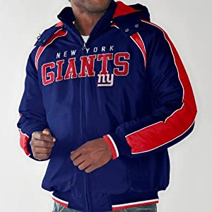 New York Giants NFL Slot Receiver Heavyweight Detachable Hooded Jacket by G-III Sports