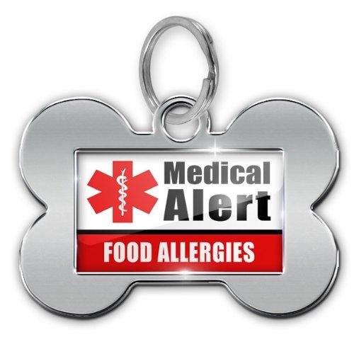 "Dog Bone Pet Id Tag Medical Alert Red ""Food Allergys"" - Neonblond"