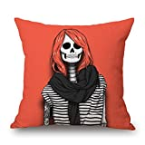 Beautfuldecor Home Decoration Handsome Skull Girl Pillowcase 16X16 Inch Throw Cushion Cover
