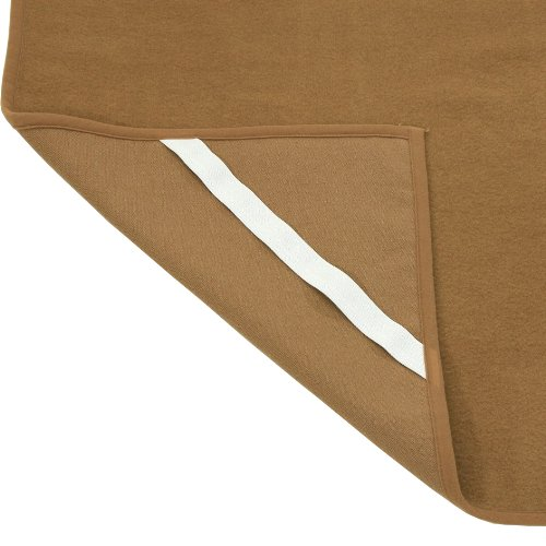 One☆♪thread★日本製 洗えるキャメル敷き毛布 横二重織り ゴムバンド付 ダブルサイズ