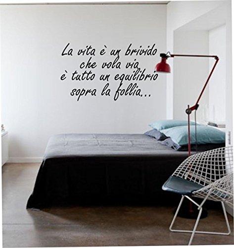 """wall stickers Adesivo murale frase """"La vita è un brivido che vola via"""" (93cm x 58cm) - adesivi murali decorazioni interni by tshirteria"""