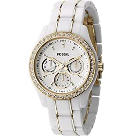 Fossil Stella White & Gold Multifunction Watch: Fossil