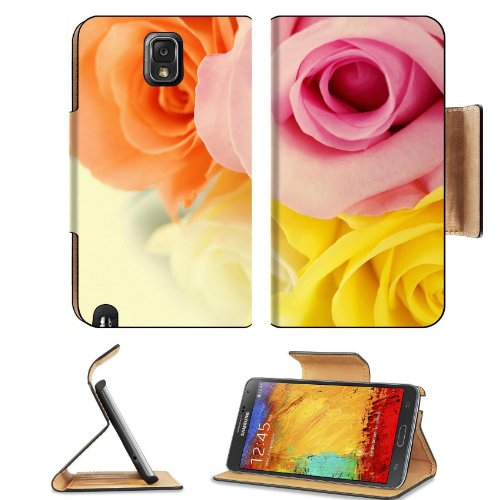 Colorful Roses Orange Yellow White Pink Flowers Macro Shot Samsung Galaxy Note 3 N9000 Flip Case Stand Magnetic Cover Open Ports Customized Made To Order Support Ready Premium Deluxe Pu Leather 5 15/16 Inch (150Mm) X 3 1/2 Inch (89Mm) X 9/16 Inch (14Mm) L front-994385