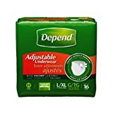 Depend Adjustable Underwear, L/XL 16 Count (Pack of 3)