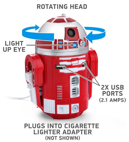 Star Wars R2-D9 Red Droid Robot Figure Tablet Phone Electronic USB Car Charger (Robot Usb Port compare prices)