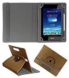 Acm Designer Rotating 360° Leather Flip Case For Asus Padfone Mini Tab Tablet Stand Premium Cover Golden