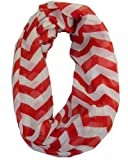 Cambridge Select Soft Chevron Sheer Infinity Scarf in Contrasting Colors,One Size,Black Zig Zag,One Size,Red Zig Zag