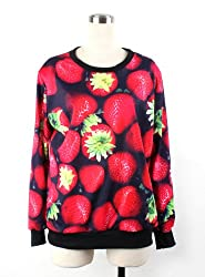 fashions strawberry lovers sweater  loose round neck design sweater  Forefront of fashion long-sleeved sweater