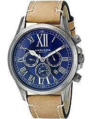 Akribos XXIV Men's AK897SSBU Multifunction Dial Watch With Tan Strap