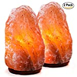 Set of 2 Natural Himalayan Salt Lamp Hand Carved With Elegant Wood Base. Includes Bulbs, 5-7 Inches, 4-7 lbs (each)