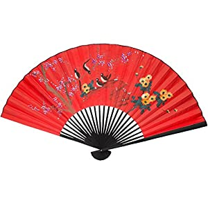 Oriental Furniture Inexpensive Asian Art, Decor and Gifts, 24-Inch Chinese Red Hand Painted Decorative Fan, Birds on Tree No.2