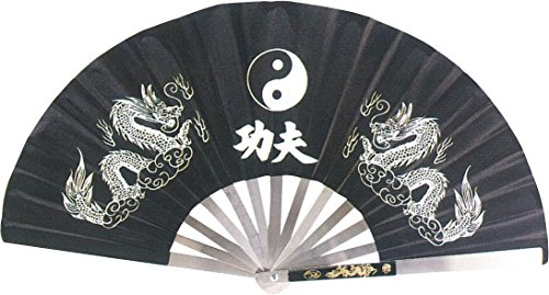 AuroTrends Kung Fu Fighting Fan 13.7 Inches Long/25.2 Inches Wide Opened- Chinese Taichi Folding Handheld Fan (Black) (Kung Fu Fighting Fan compare prices)
