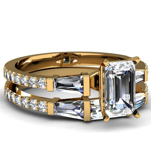 Fascinating Diamonds 2 Ct Emerald Cut Diamond Trinity Engagement Wedding Rings Bar Set Vvs1 Gia