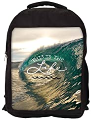 Snoogg Beach Wave Life Backpack Rucksack School Travel Unisex Casual Canvas Bag Bookbag Satchel