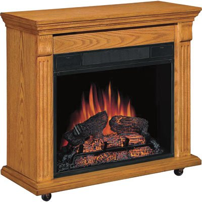 Chimney Free Rolling Mantel Electric Fireplace - Oak, 4600 BTU, 1350 Watts, 400 Sq. Ft. Heating Capacity, Model# 23RM067OAK