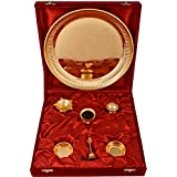 Jaipur Trade Silver & Golden Plated Puja Thali Set (28 Cm X 28 Cm X 3 Cm, Gold)