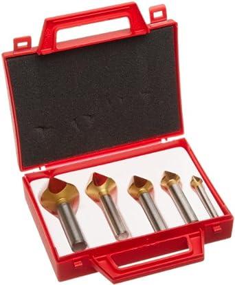 Magafor 4832 Series Cobalt Steel Single-End Countersink Set, TiN Coating, 3 Flutes, 60 Degrees, Round Shank (5 Piece Set)