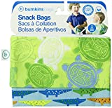 Bumkins Reusable Snack Bag, Crocs and Turtles, 2-count