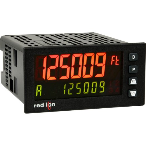 Red Lion Pax2D Dual Line Rate/Counter Input Panel Meter, Tri-Color Dual Lcd Display, 21.6-250 Vac/Dc Power
