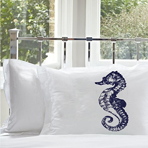 Navy Blue Seahorse Nautical Pillowcases (2