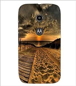 PrintDhaba Sunset D-2379 Back Case Cover for MOTOROLA MOTO E2 (Multi-Coloured)
