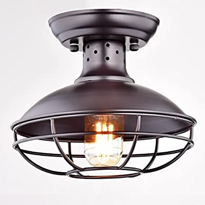Dazhuan Industrial Vintage Metal Cage Pendant Lighting Semi Flush Mount Ceiling Light Lamp Fixture