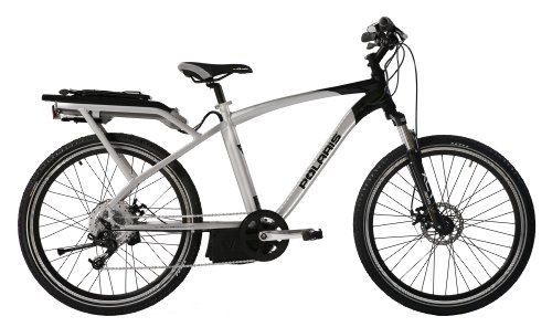 Polaris Electric Bikes Strive Electric 8-Speed Road Bicycle, Silver/Black, 18-Inch