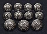 Metal Silver Toned Shank Blazer Sport Coat Button Set ~GOLF KINGS COAT-OF-ARMS~