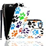 For Apple Iphone 5 5g Multi Dog Cat Paw Foot Printed PU Leather Magnetic Protected Flip Case Cover + Stylus