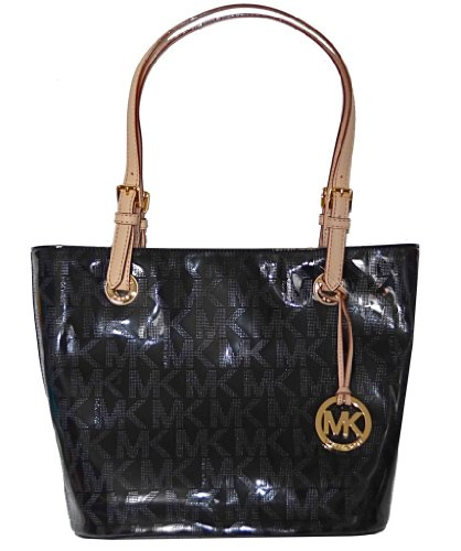 Michael Kors Black MK Mirror Metallic Item MD Tote Shoulder Bag Handbag Purse