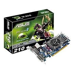 Asus GeForce 210 Nvidia Graphics Card (1GB DDR3, PCI Express 2.0, Low Profile, HDMI, DVI-I, DVI-D, DisplayPort, DirectX 11.0, OpenGL 4.2, Dust-Proof Fan)