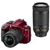 ニコン デジタル一眼レフカメラ・ダブルズームキット D3400 レッド D3400WZRD